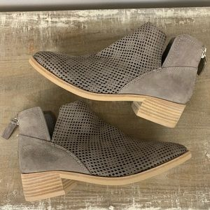 New Dolce Vita Taupe Suede Perforated Ankle Bootie